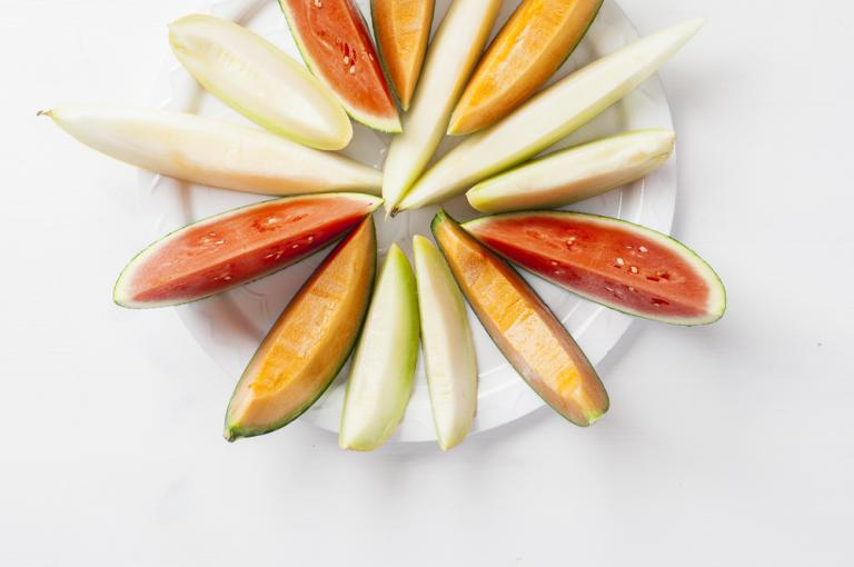 Diverse melons on a plate